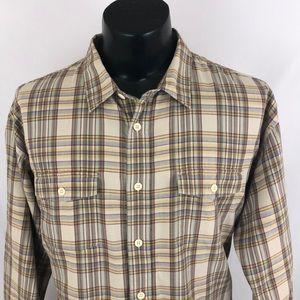 Patagonia Button Up Shirt Plaid Beige Brown XL